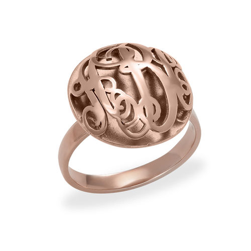 Contoured Monogram Ring in Rose Gold Plating