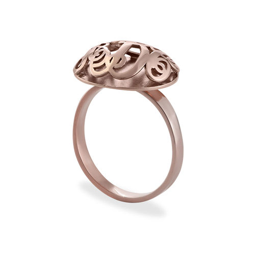 Contoured Monogram Ring in Rose Gold Plating - 1