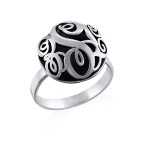 Contoured Monogram Ring in Silver