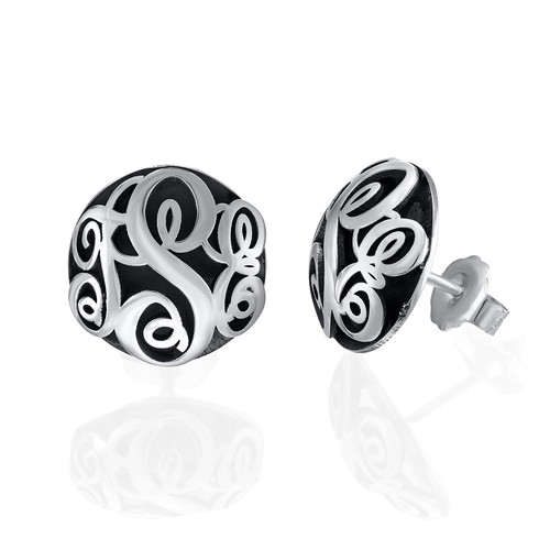 Contoured Monogram Studs Earrings in Silver