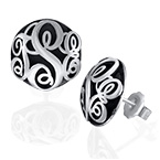 Contoured Monogram Studs Earrings in Silver