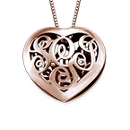 Contoured Rose Gold Plated Monogram Necklace - Heart shape