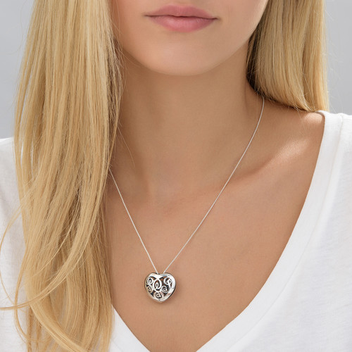 Contoured Silver Monogram Necklace - Heart shape - 2