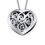 Contoured Silver Monogram Necklace - Heart shape