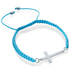 Cord Cross Bracelet in Sterling Silver