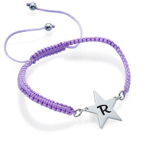 Cord Star Initial Bracelet