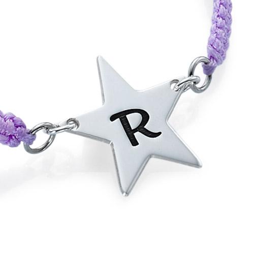 Cord Star Initial Bracelet - 1
