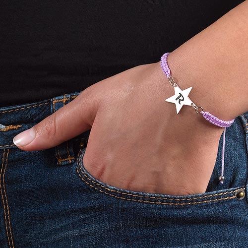 Cord Star Initial Bracelet - 2
