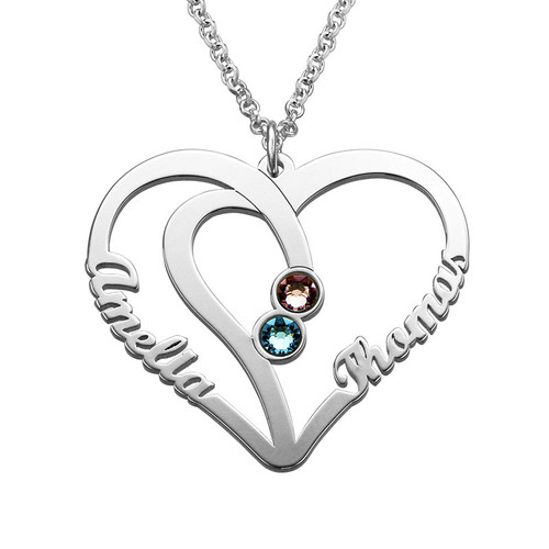 Couples Birthstone Necklace in Silver - Yours Truly Collection