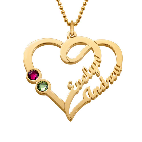 Couples Birthstone Necklace with Gold Plating - Yours Truly Collection