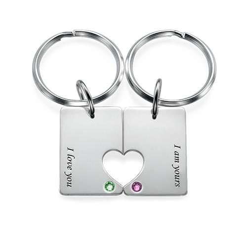 Couple's Dog Tag Keychain Set