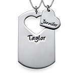 Couples Dog Tag Necklace With Cut Out Heart
