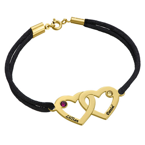 Couples Hearts Bracelet with Birthstones - Gold Plated