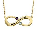 Couple's Infinity Necklace with Birthstones - Gold Plated