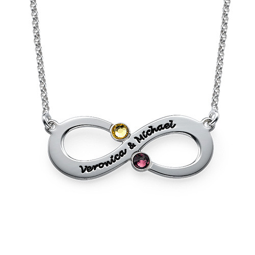 845b0b4d75 Couple's Infinity Necklace with Birthstones | My Name Necklace