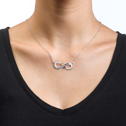 Couple's Infinity Necklace with Birthstones - 1