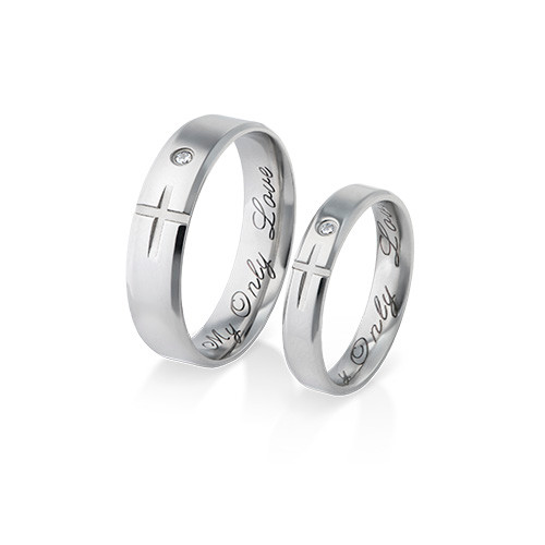 Couple's Promise Ring Set - Matching Crosses