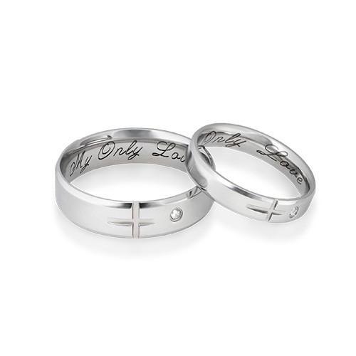 Couple's Promise Ring Set - Matching Crosses - 1