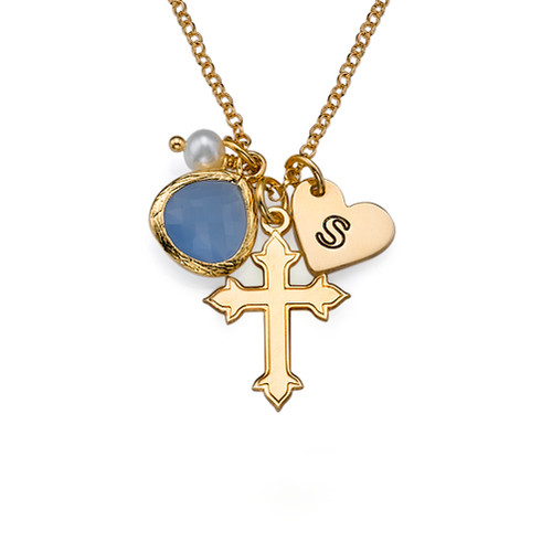 Cross Necklace with Initial Charm