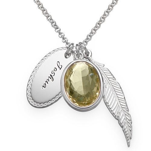 Crystal Glass Pendant with Feather & Disc Charms
