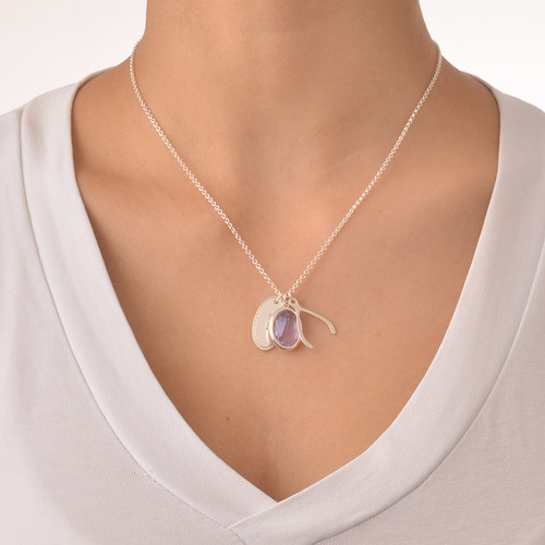 Crystal Glass Pendant with Wishbone & Disc Charms - 2