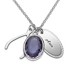 Crystal Glass Pendant with Wishbone & Disc Charms