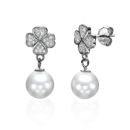 Cubic Zirconia Clover with Dangling Pearl Earrings