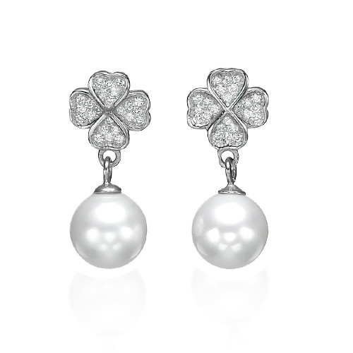 Cubic Zirconia Clover with Dangling Pearl Earrings - 1