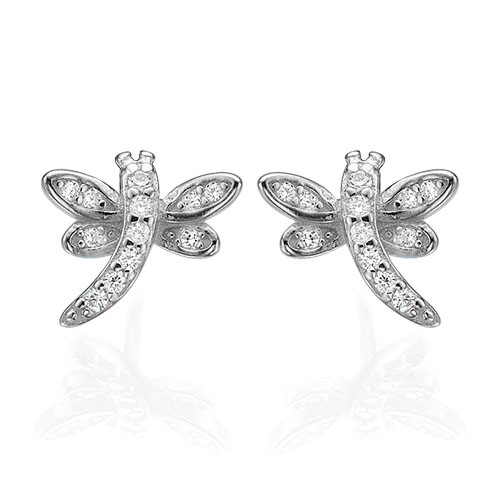 Cubic Zirconia Dragonfly Stud Earrings - 1