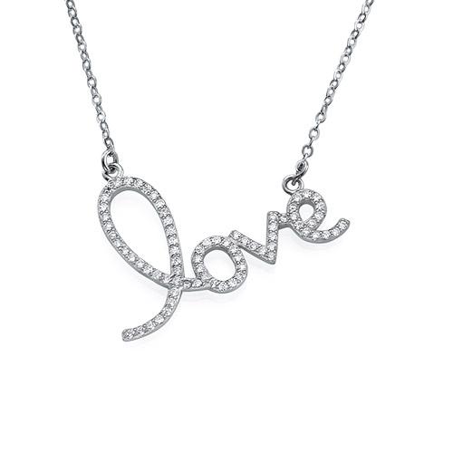 Cubic Zirconia LOVE Pendant Necklace - 1