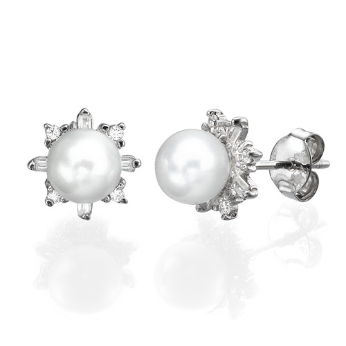 Cubic Zirconia Pearl Stud Earrings