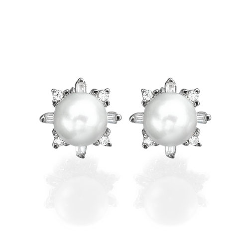Cubic Zirconia Pearl Stud Earrings - 1