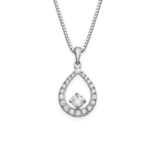 Cubic Zirconia Tear Drop Necklace