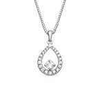Cubic Zirconia Tear Drop Necklace