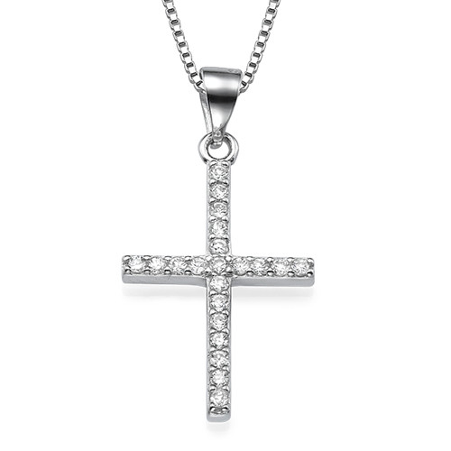 Cubic Zirconia Thin Cross Necklace