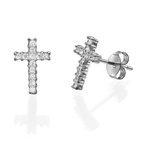 Cubic Zirconia Thin Cross Stud Earrings
