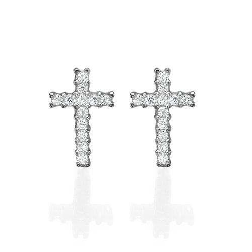 Cubic Zirconia Thin Cross Stud Earrings - 1