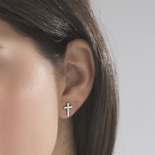 Cubic Zirconia Thin Cross Stud Earrings 2