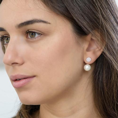 Cubic Zirconia and Pearl Drop Earrings - 2