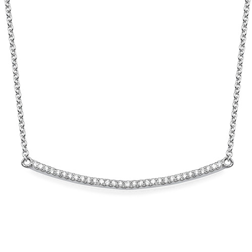 Curved Bar Necklace with Cubic Zirconia