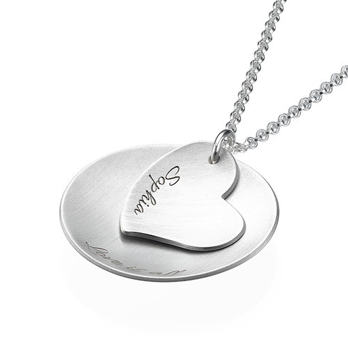 Curved Disc Necklace with a Heart Charm - 1