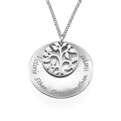 Curved Family Tree Disc Necklace