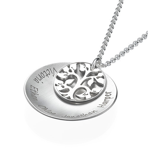 Curved Family Tree Disc Necklace - 1