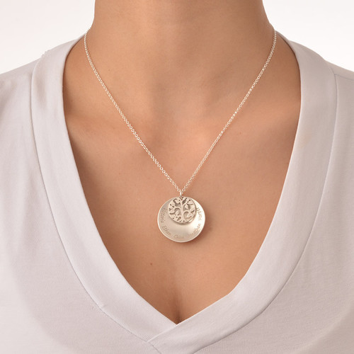 Curved Family Tree Disc Necklace - 2