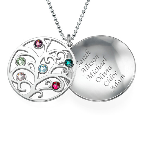 Curved Filigree Family Tree Necklace with Birthstones