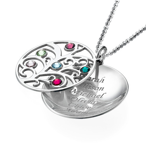 Curved Filigree Family Tree Necklace with Birthstones - 3