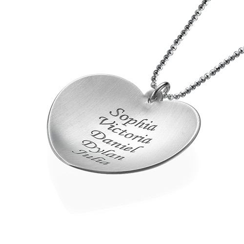 Curved Heart Family Necklace - 1