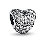 Curved Heart Silver Bead with Cubic Zirconia