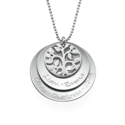 Curved Layered Family Tree Necklace in Silver