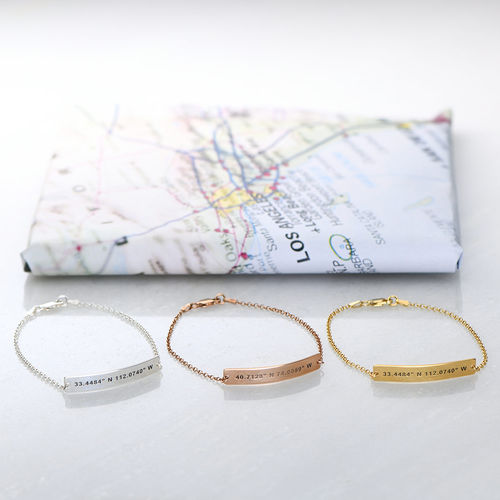 Custom Coordinates Bracelet In Silver 2